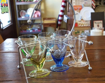 Mid Century Modern six (6) Multi colored shot glasses with chrome carrier