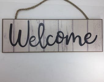 """Welcome Sign, Sign For Wreath, Fence Sign, Wreath Supply, Signs With Sayings, Craft Supply, Signs For Home, Rustic Look, 15"""", 801099, D5"""