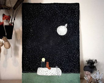 Mothers day, Starry Night Walk 1, Original  Painting in Acrylic and Ink, A4 size