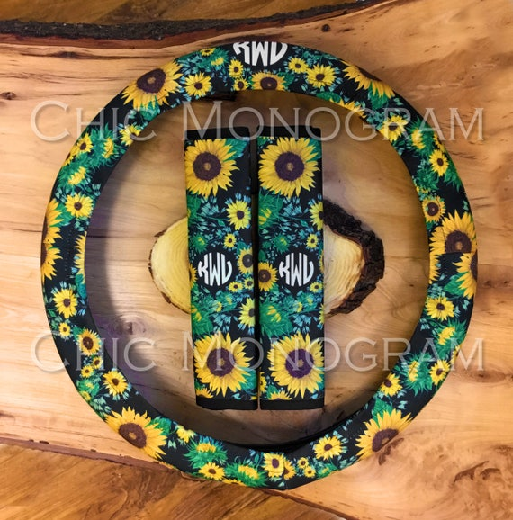 Monogrammed Sunflower Steering Wheel Cover Seat Belt Covers Sunflowers Padded Insulated Custom Steering Wheel Cover Cute Car Accessories