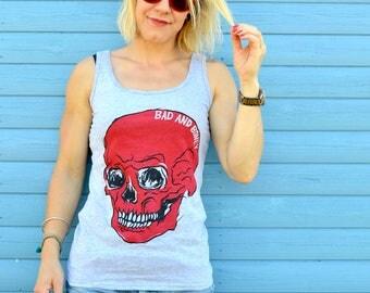 Women's Red Skull Tank Top, Women's Tanks, Skull Workout Top, Fitted Skull Vest