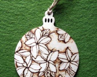 Plumeria Woodburned Ornament