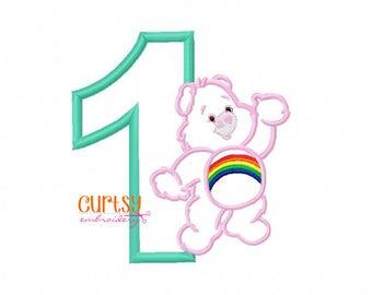 Rainbow Bear Birthday Embroidery Design, Rainbow Bear Birthday Applique, First Birthday Applique Design, First Birthday Embroidery Design