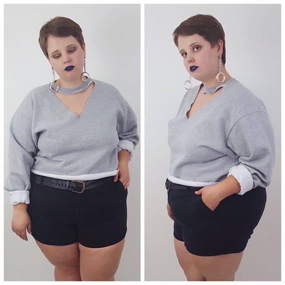 Gray Choker Neck Cut Out Cropped Sweatshirt - XL Baggy Crop Top Sweatshirt - Womens Grunge Athletic Sweat Shirt - Plus Size Cut Out Style