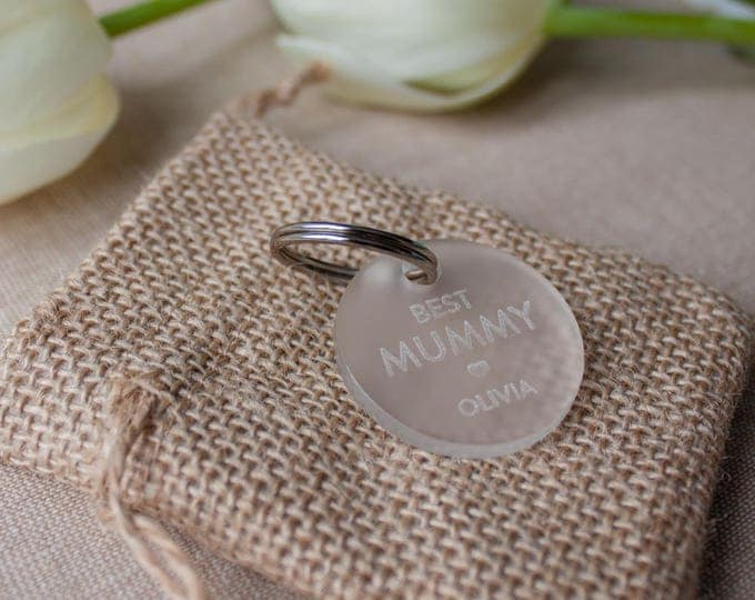 Featured listing image: Best Mummy Ever // PERSONALISED // Frosted Acrylic Keyring // Gift for Mothers Day // Gift for Mummy // Personalised Keyring // Birthday
