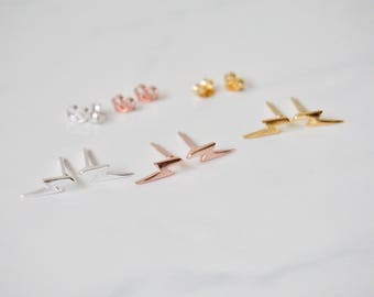 Lightening Bolt Stud Earrings, Thunderbolt earrings, Gold Lightening Bolt Earrings, Rose Gold Lightening Bolt Earring, Silver Bolt Earrings