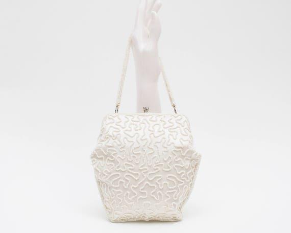 Ivory White Beaded Handbag - Bridal Purse - Vintage 1950s Wedding Purse