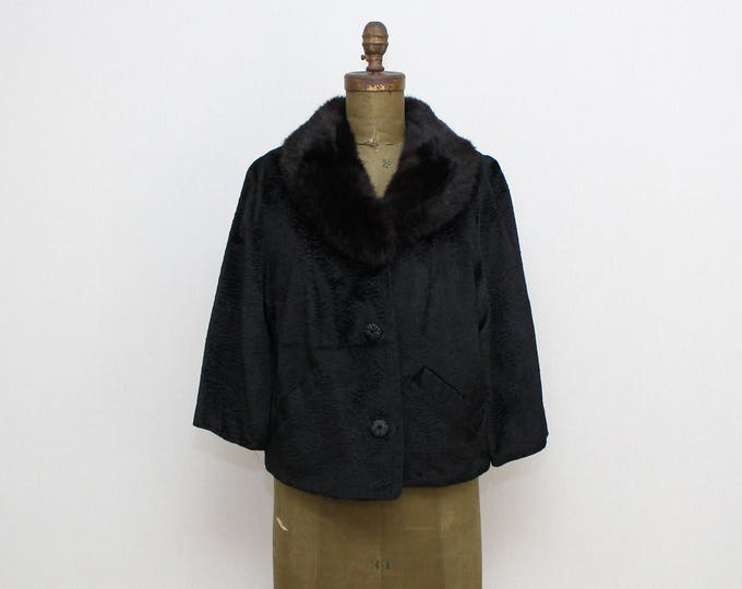 Vintage 1960s Black Faux Persian Lambswool Fur Trimmed Coat - Size Large