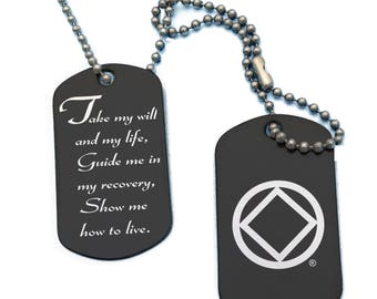 Narcotics Anonymous and 3rd Step Prayer Military Dog Tags Necklace - customization on the back Free US shipping