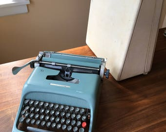 1952 Olivetti Studio 44 Portable Typewriter, Cursive Script Typeface, with Case, Barcelona
