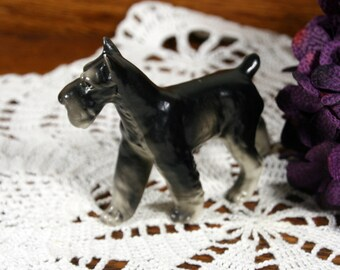 Black and white schnauzer figurine-porcelain terrier-made in Japan