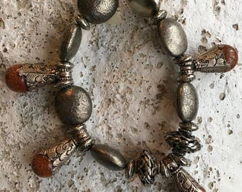 Silver and Charm  Stretch Bracelet