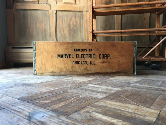 Vintage Wood Crate, Marvel Electric Corp, Chicago, Wooden Crate, Rustic Industrial Decorative Storage
