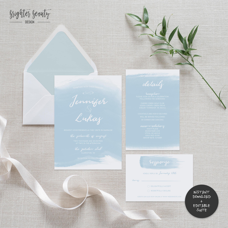 Blue watercolor wedding invitation suite instant download blue watercolor wedding invitation suite instant download editable pdf do it yourself printable solutioingenieria Gallery