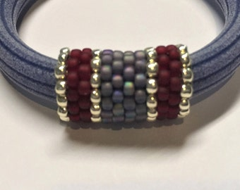 SALE: Licorce Leather Handmade Beaded Slider Tube, Frosted Ruby Red, Rainbow Lilac and Silver, Licorice finding, Jewelry supplies