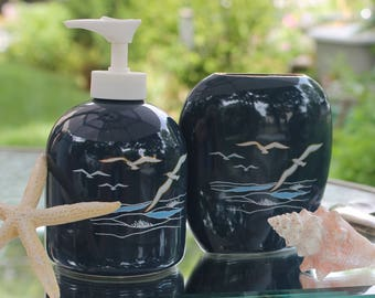 "Vintage Otagiri ""The Sea"" Small Vase & Lotion Dispenser Set, Seagulls and Waves Coastal Inspired Beach House Decor Nautical Collectible"
