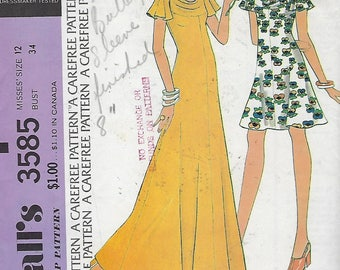 McCall's 3585  Misses' Dress Size 12  Bust 34""