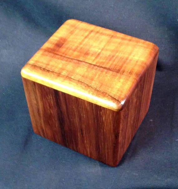 "Curly Hawaiian Koa  Pet or Infant Small Cremation Urn  4 3/4"" x 4 1/4"" x 4""  Custom Handmade Urns Ashes Memorial Keepsake Urn SM091917A"
