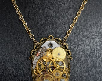 Victorian style Steampunk Necklace - Upcycled Pocket Watch Gears Chain Pendnant Necklace