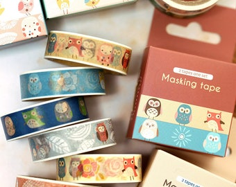 Owl washi tape 2 Roll Cartoon Owl cute owl masking tape owl theme sticker tape colorful owl forest animal tape set planner accessories 2018