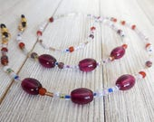 Purple Beaded Eyeglass Chain with Rubber Grips, Colorful Reading Glasses Lanyard