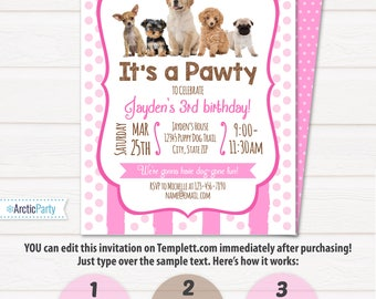 Puppy Birthday Invitation - Dog Birthday Party Invitations - Puppy Birthday Invitations - Dog Themed Party - INSTANT ACCESS - Edit NOW!!