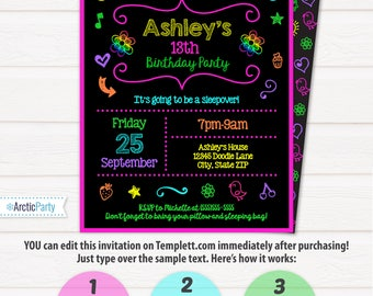 Glow Party Invitations - Slumber Party Invitations - Doodle Party Invitation - INSTANT ACCESS - Edit in your browser with Templett.com now!