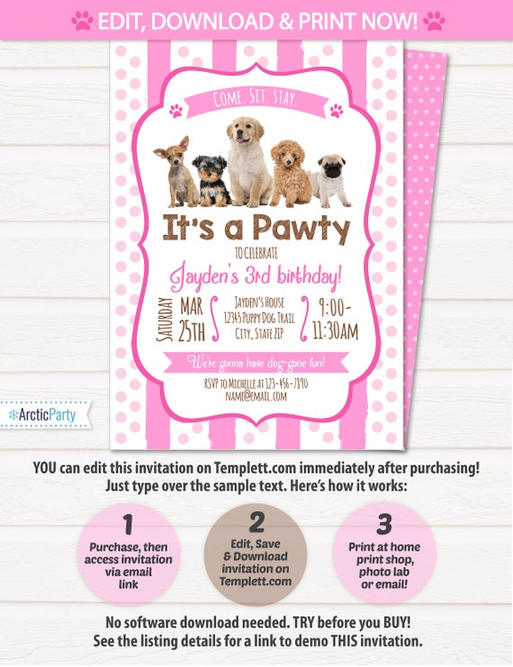 Puppy birthday invitation dog birthday party invitations puppy birthday invitation dog birthday party invitations puppy birthday invitations dog themed party instant access edit now stopboris