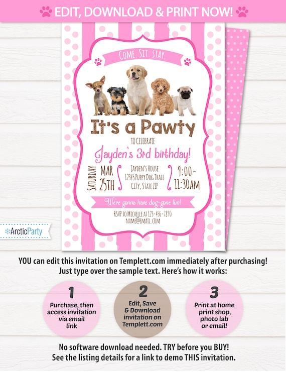 Puppy Birthday Invitation Dog Birthday Party Invitations