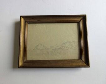 30's original drawing, Crete, Greece, framed, signed