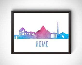 Rome digital prints, Rome printable, prints, Rome poster, Rome wall art, city poster, printable instant download, travel gift, Rome print