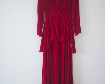 1930's Red Velvet Peplum Dress || Judy Garland || Vintage Christmas
