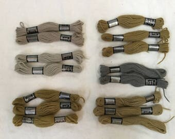 D.M.C. Tapestry Thread, 15 Skeins Tapestry Wool, Various Colors, Vintage Laine Tapisserie Free Shipping