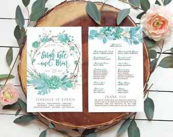 Succulent Wedding Program / Greenery Branch Wreath Programs / Printable or Printed