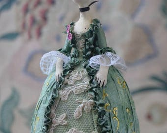 Madame N*, OOAK miniature doll, Tiny hanging doll,  Miniature Art Doll, hanging art doll, Rococo, doll ornament, collectible doll