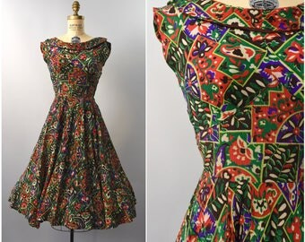 1940's colorful floral rayon dress • small