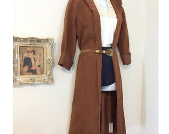 70s Vintage Faux Leather Suede Coat Size Small Medium Large