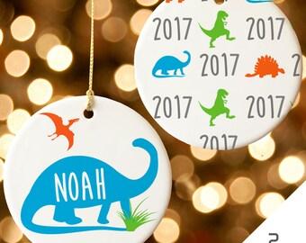 Personalized Christmas Ornament, Ornament for Boys, Custom Kids Christmas Gift, Christmas Decor, Dinosaur Ornament, Dinosaur Gift, 2017 Gift