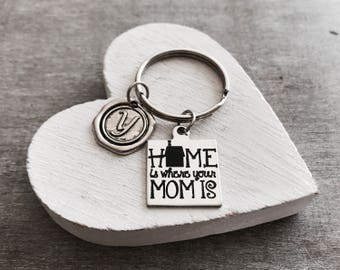 Home is where, your mom is, Mom Jewelry, Mom Keychain Gifts for mom, Mom Gift, SIlver Keychain, Silver Jewelry, Keepsake, Moving away
