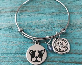 Boston terrier Lover, Boston terrier, I love my, Puppy, Boston terrier Mom, SIlver Bracelet, Charm Bracelet, Boston terrier Gifts, Dog
