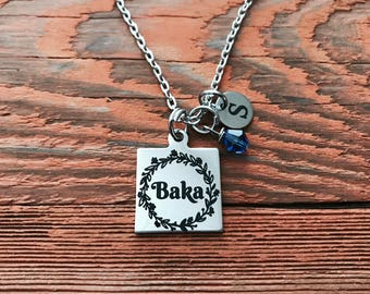 Baka, Grandma, Croatian, Serbian, Bosnian, Baka Necklace, Baka Jewelry, Silver Necklace, Charm Necklace, silver Jewelry, Gifts for, keepsake