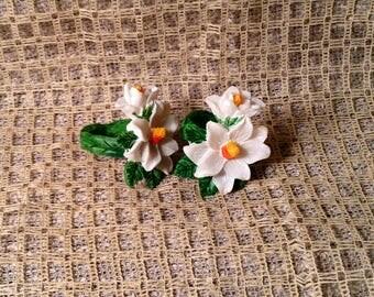 Set of 2 Ceramic Flower Napkin Holders - White Lily Flower Napkin Rings - Springtime, Easter Table Serving