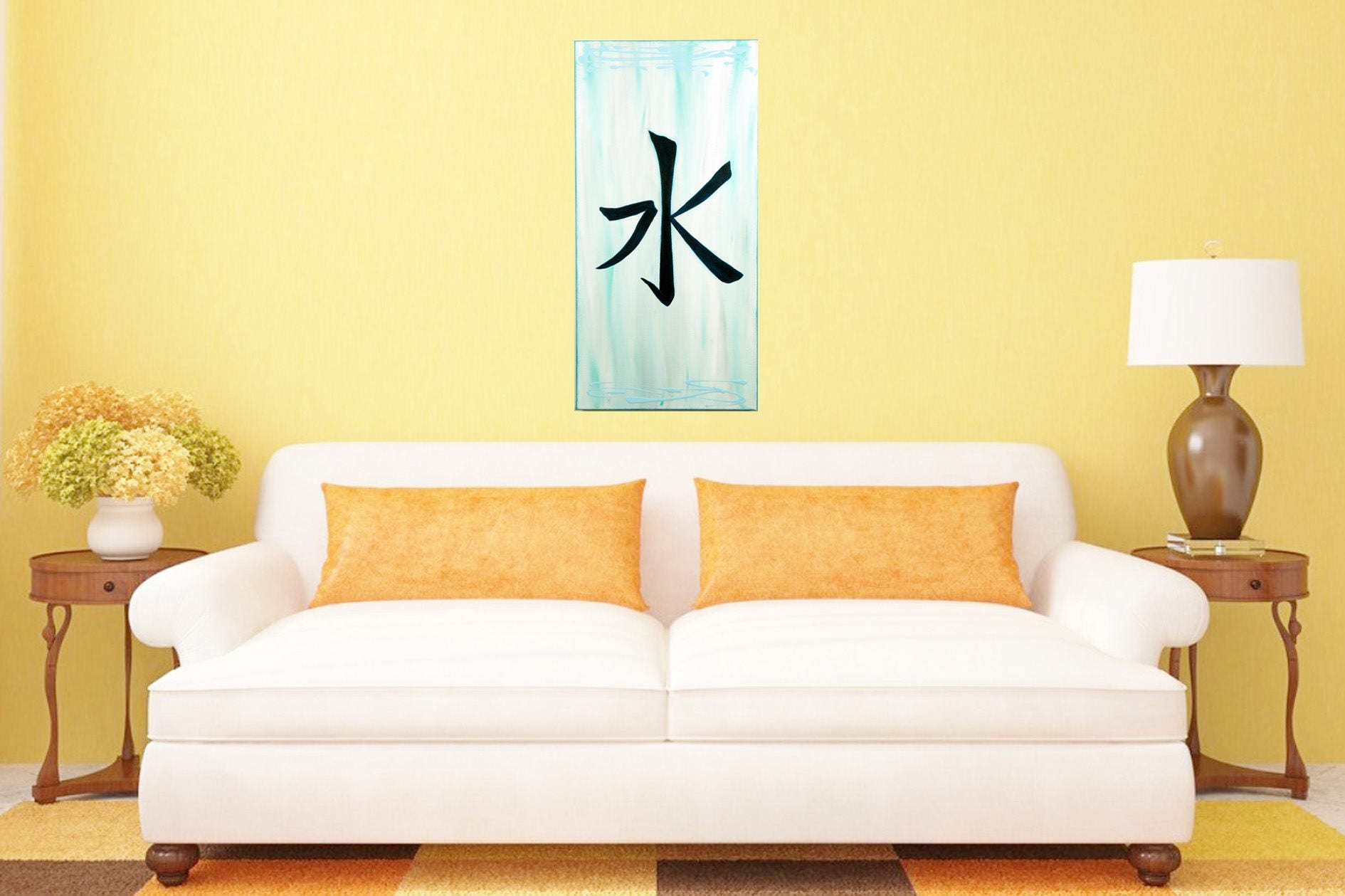 Original Painting Water Sign on Canvas Modern Yoga Decor Chinese ...