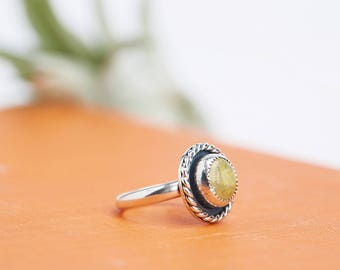 Olive Stone Ring // Gemstone Ring // Sterling Silver // Made to Order