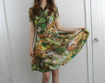 Vintage 70s Impressionist novelty print dress with collar, small