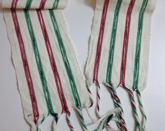 Vintage Handmade Woven Red Green and White Stripe Scarf Fabric Runner Accessory Decor with Fringe Made in Guatemala Extra Long Cotton