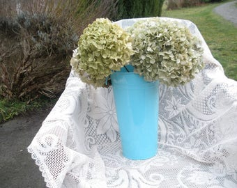 Dried hydrangea flowers- 4 Jumbo mopheads in shades of green with hints of blue and pink- long stems- cottage chic wedding flowers