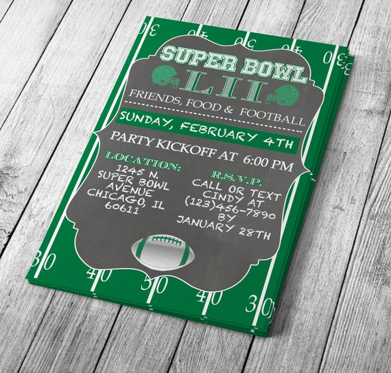 Chalkboard Super Bowl Invitation Editable Template