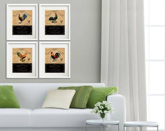Le Coq - 4 Print Set, 8x10 Art Prints Rooster Kitchen Decor, French Country Farmhouse Kitchen Art Set, Dining Room Art, French Roosters Art