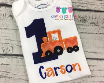 1st Birthday Boy Train shirt - first birthday Train outfit boy - 1st birthday boy outfit - first birthday shirt boy - Train shirt - ANY AGE